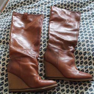 ZARA Tan Knee High Wedge Boots US 10